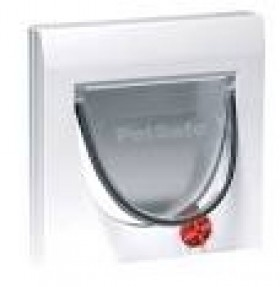 Manual 4 way locking cat flap with tunnel - white