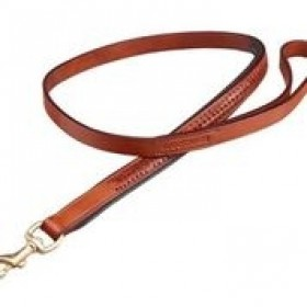 WOOFMASTA DOG LEAD PLAITED LEATHER TAN