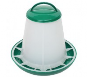 POULTRY HOPPER FEEDER 1KG WITH LID, PP, GREEN / WHITE